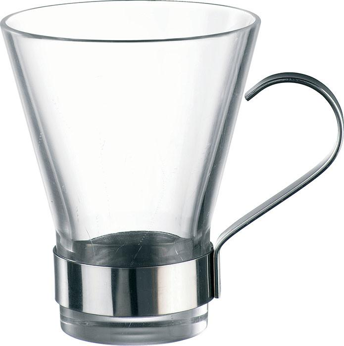 Bormioli Rocco Ypsilon Cappuccino Cups with Metal Handle, Clear, Set of 6 430410G
