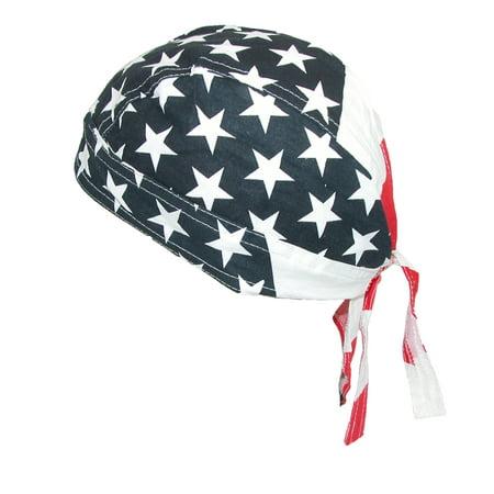 Men's Cotton American Flag Do Rag Cap, Size: one size