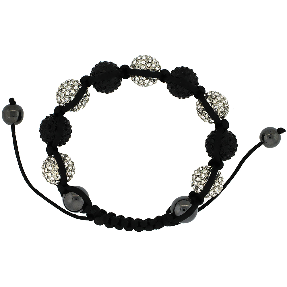 White & Black Color Crystal Disco Ball Adjustable Unisex Macrame Bead Bracelet w/ Hematite Beads, 1/2 in. (12.5 mm) wide