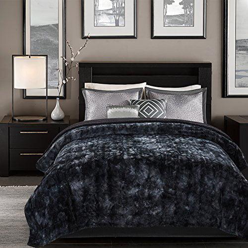 Chanasya Super Soft Fuzzy Fur Faux Fur Cozy Warm Fluffy Beautiful Color Variation Print Plush Sherpa Black Fur... by Chanasya