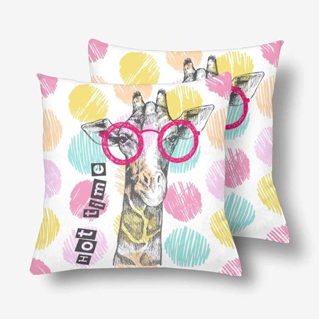 GCKG Hipster Giraffe Bright Giraffe Glasses Throw Pillow Covers 18x18 inches Set of 2 - image 3 of 3