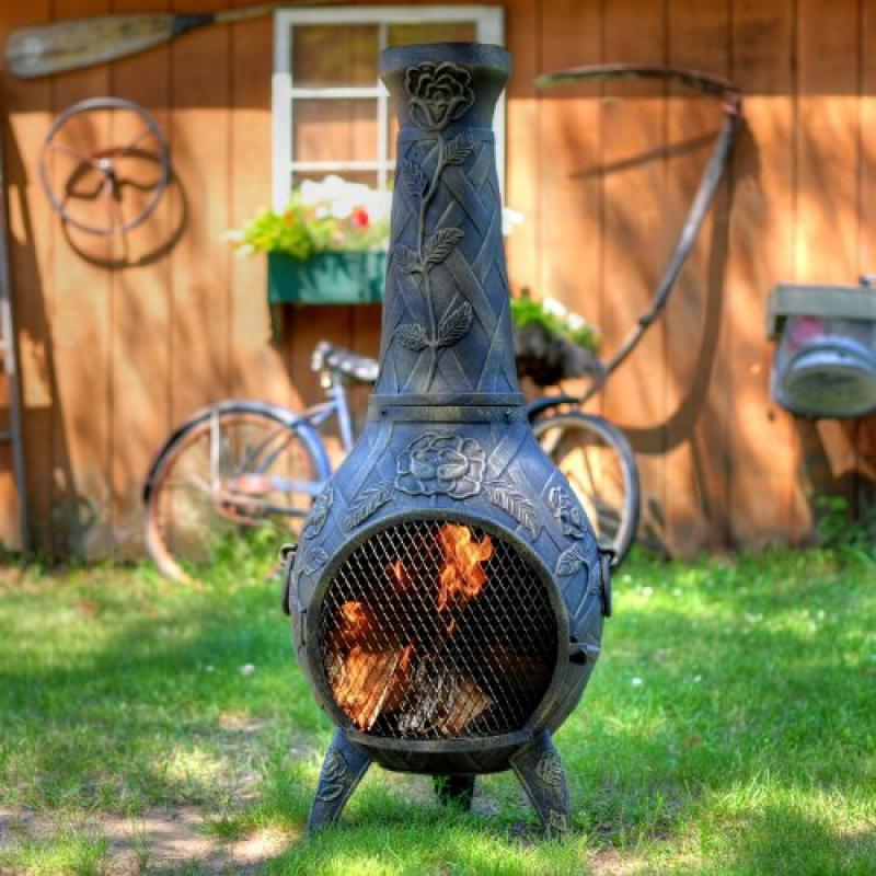 The Blue Rooster Co. Cast Aluminum Rose Chiminea with Gas and a 10' hose in Gold Accent. Also comes with a... by