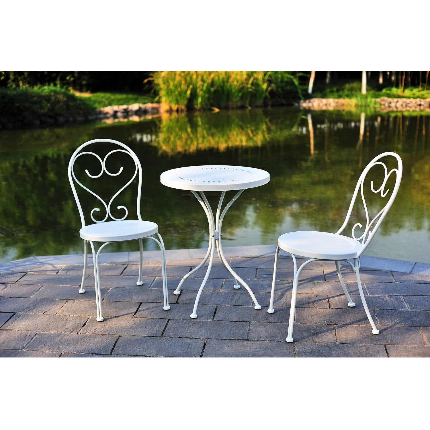 white chairs sets outdoor furniture for small spaces | MS 3pc Small Space Scroll Outdoor Bistro Set, White ...