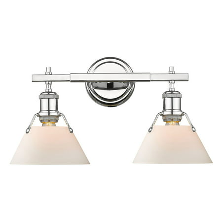 - Orwell CH 2 Light Bath Vanity in Chrome with Opal Glass Shade