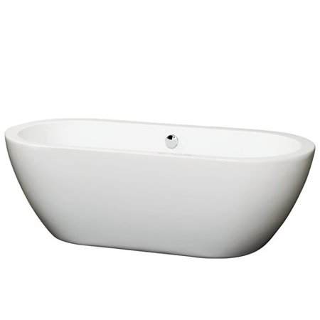 Wyndham Collection Soho 68 inch Freestanding Bathtub in White with Pol