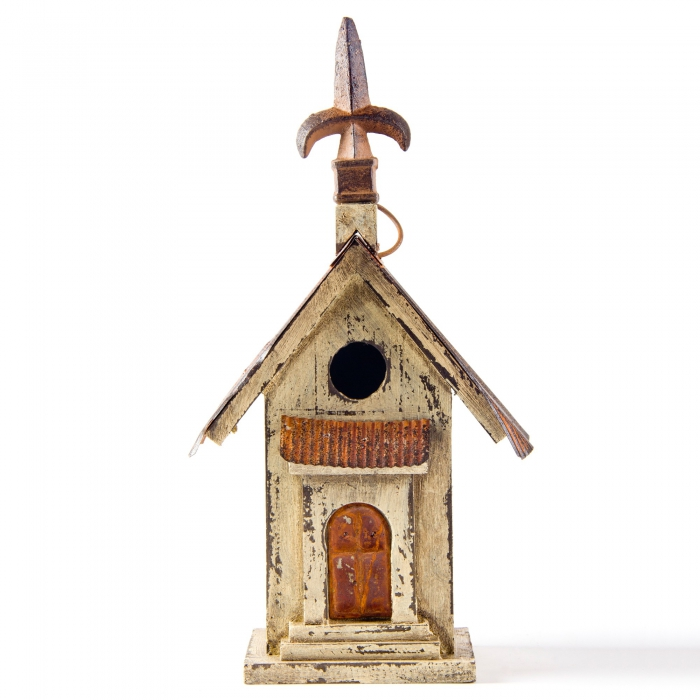 Glitzhome Rustic Church Hanging Decorative Wood Birdhouse for Outdoors