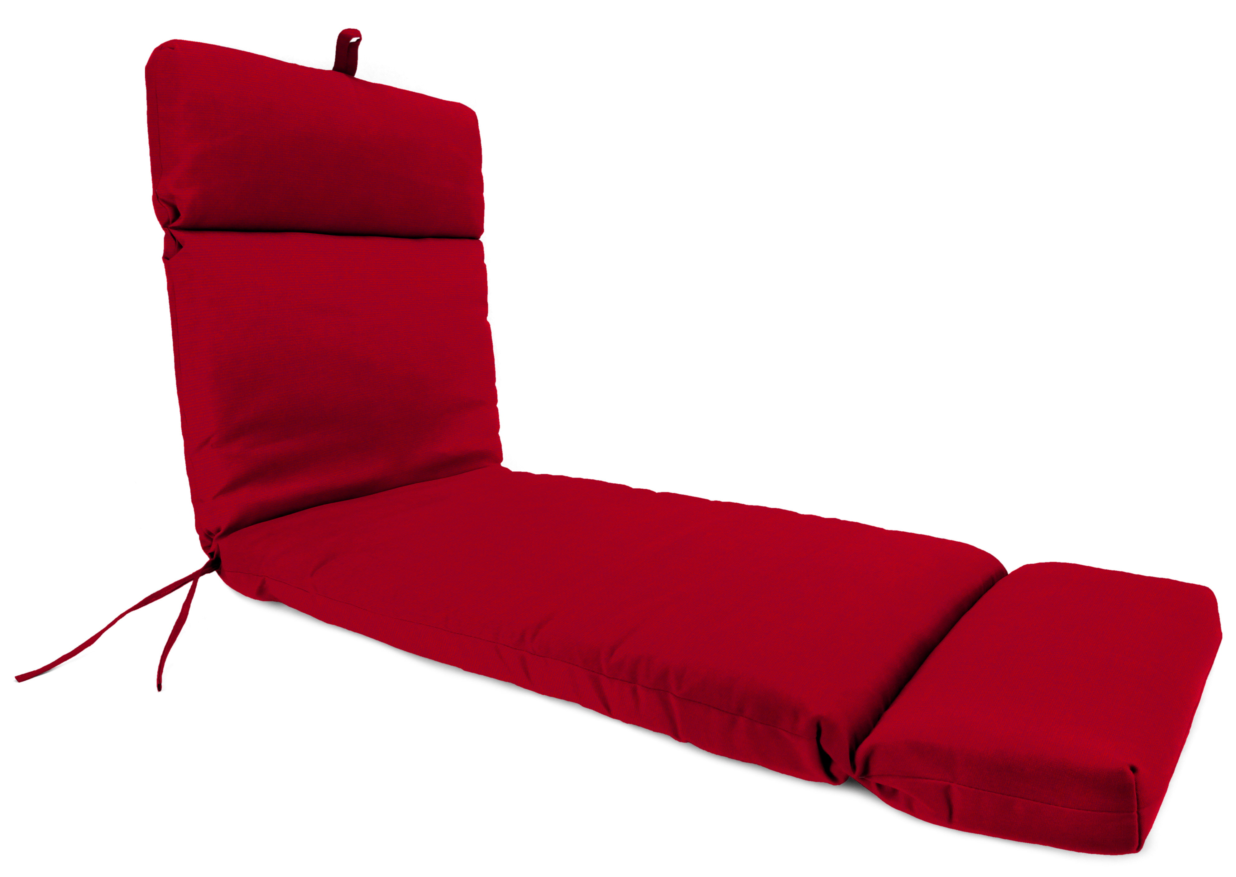 Mainstays Solid Red Outdoor Patio Chaise Lounge Cushion