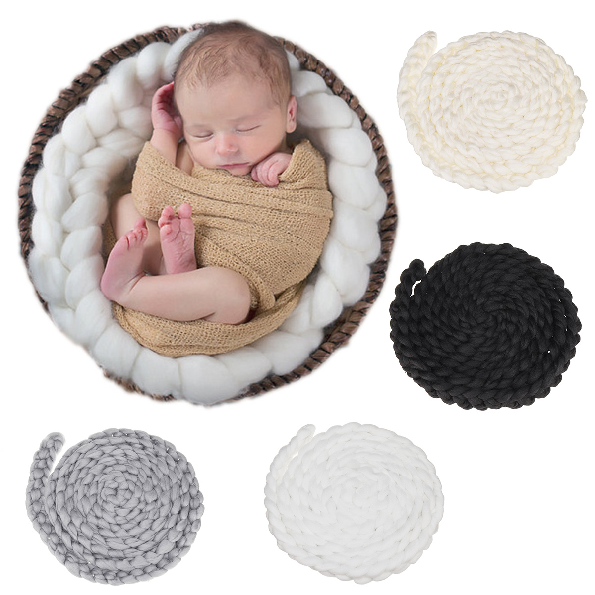 4M Newborn Baby Wool Twist Rope Photo kids costume Props Handmade Crochet Knitted Costume Backdrop Background Photography Prop