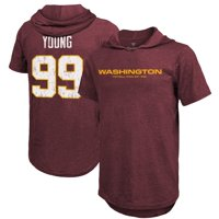 Chase Young Washington Football Team Fanatics Branded Player Name & Number Hoodie T-Shirt - Burgundy