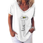 Women's Plus Size Tops Short Sleeve Blouses V Neck Floral Summer Casual T Shirts