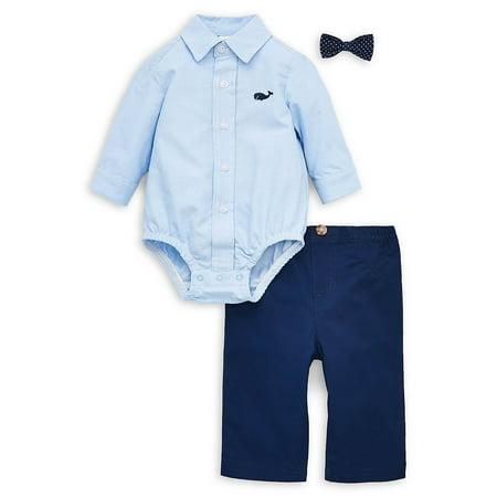 Baby Boy's 3-Piece Cotton Bow Tie, Bodysuit & Dress Pants (3 Piece Pant Suit)