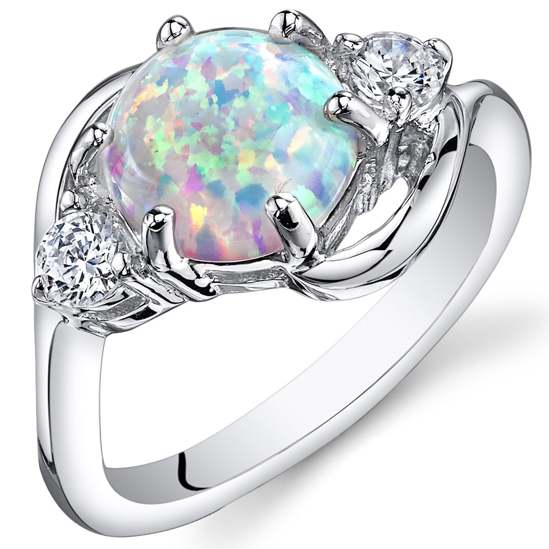 Peora 1.75 Ct 3 Stone Created Opal Ring in Rhodium-Plated Sterling Silver