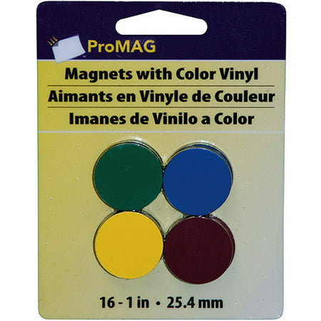 - ProMag Round Magnets with Colored Vinyl, Assorted Colors, 1