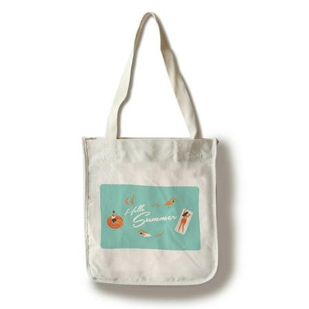 Hello Summer - Pool Scene - Lantern Press Artwork (100% Cotton Tote Bag - Reusable)