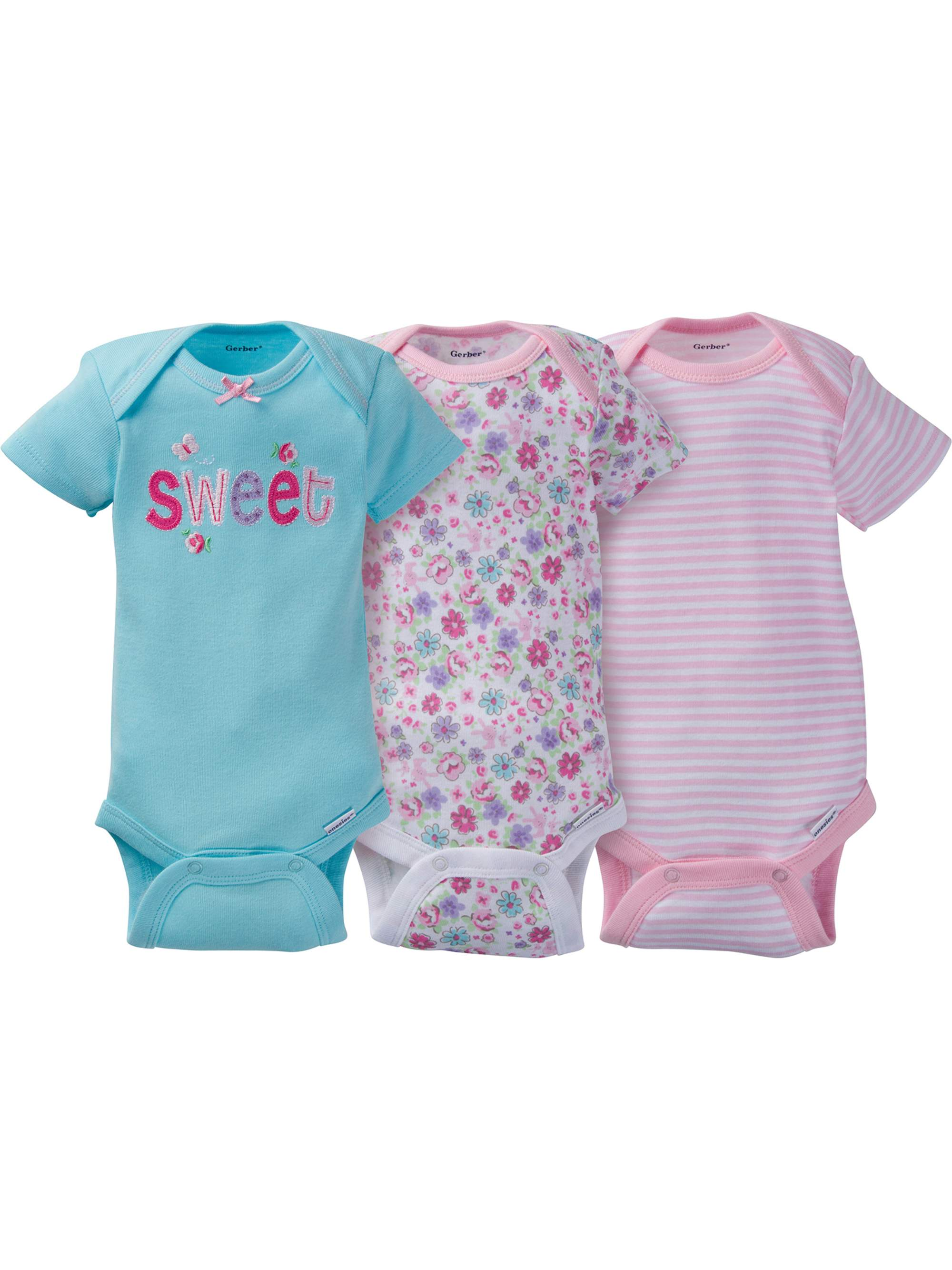 329912659 Gerber - Gerber Newborn Baby Girl Assorted Short Sleeve Onesies Bodysuits,  3-Pack - Walmart.com