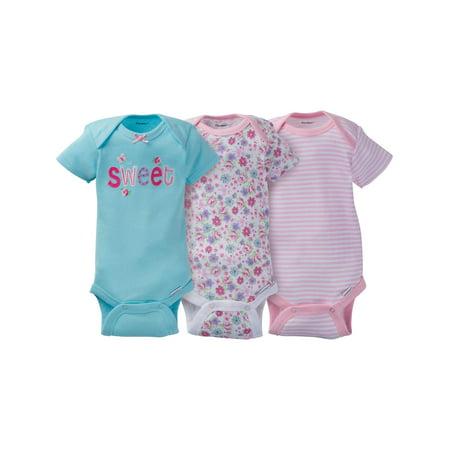 8c6357020 Gerber - Gerber Newborn Baby Girl Assorted Short Sleeve Onesies Bodysuits,  3-Pack - Walmart.com