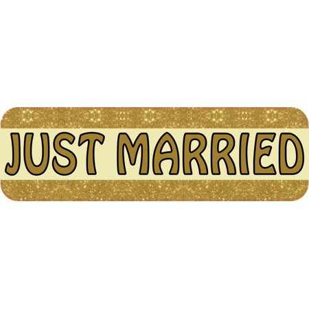 10in x 3in Gold Just Married Magnet  Car Window Magnetic Truck