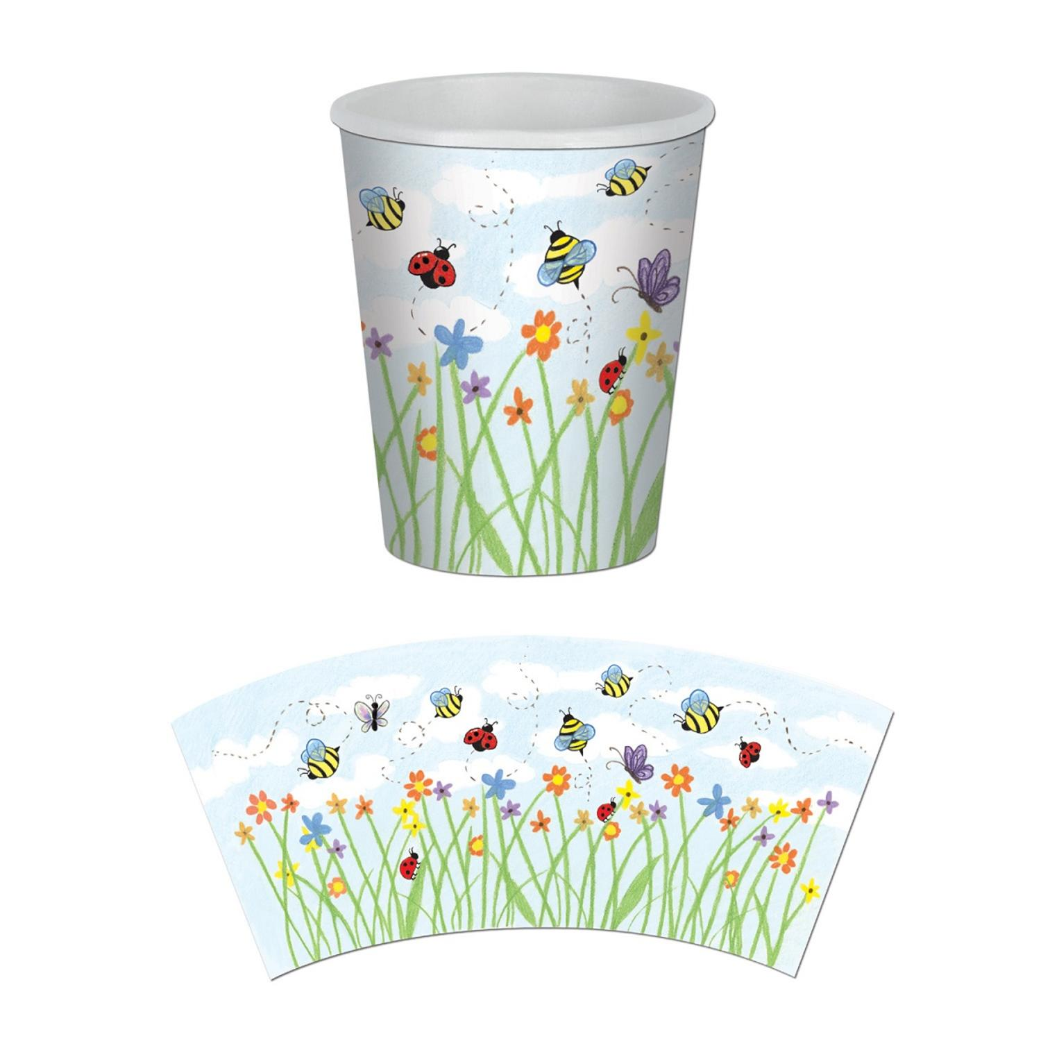Club Pack of 96 Hot and Cold Disposable Garden Beverage Cups 9 oz.