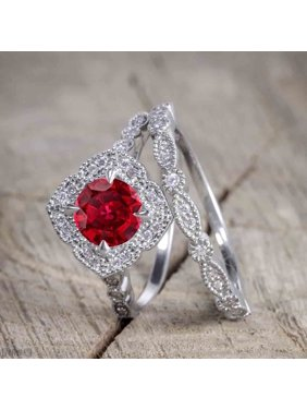 cdf50ceb030f77 Product Image 1.5 Carat Round Cut Real Ruby and Diamond Bridal Wedding Ring  Set with Engagement Ring and. JeenMata