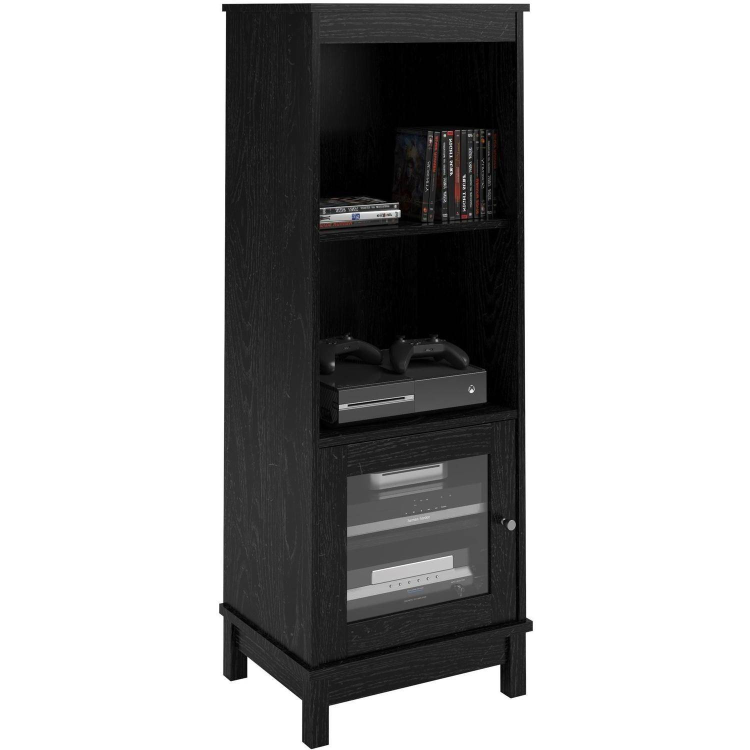 Media Storage Bookcase Lower Glass Door Display Cabinet 3 Adj Shelves Black  NeW