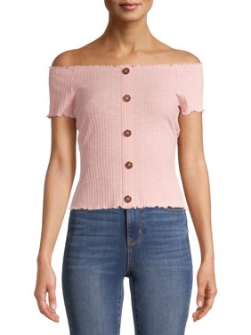 No Boundaries Juniors Ribbed Button Front Off-the-Shoulder Top