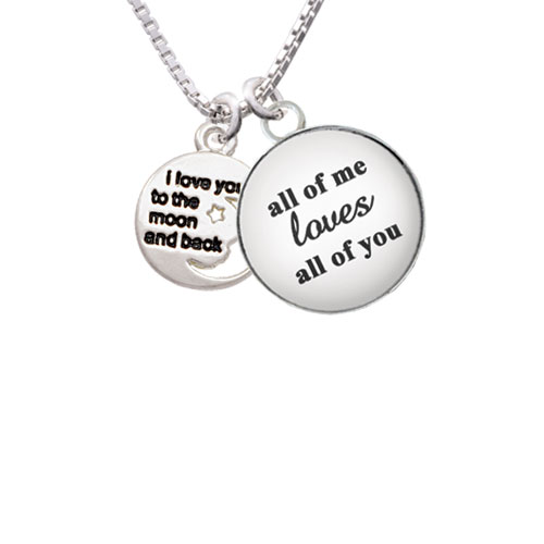 """Small I Love You to the Moon All of Me Loves All of You Glass Dome Necklace, 18""""+2"""""""