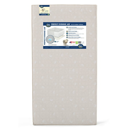 Serta Perfect Evening Air 5-Inch Crib and Toddler Mattress - Fiber Core - Dual Sided - Waterproof Vinyl Cover - Lightweight - GREENGUARD Gold Certified