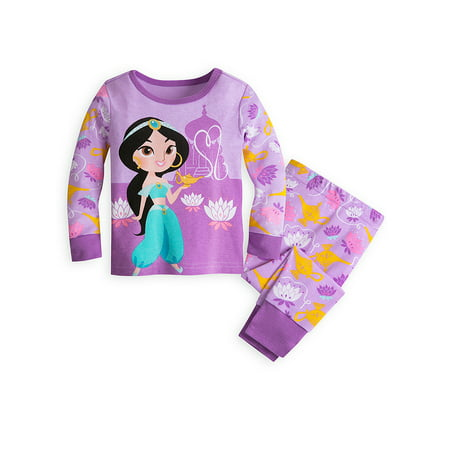 Disney Store Baby Girls Princess Jasmine PJ Pals Long Sleeve Pajama Set, Purple