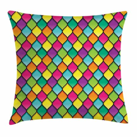 New 24 Inch Stained Glass - Geometric Throw Pillow Cushion Cover, Stained Glass Inspired Pattern in Lively Colors and Black Partitions Waves Curves, Decorative Square Accent Pillow Case, 24 X 24 Inches, Multicolor, by Ambesonne