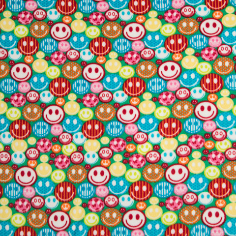 Lime Green Smile Print Anti-Pill Fleece Fabric Roll