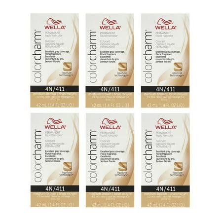 WELLA COLOR CHARM Liquid Hair Color Medium Brown 1.4oz  HC-L411/4N (6 Pack)