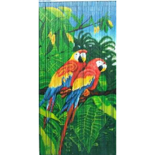 Bamboo54 Natural Bamboo Double Parrot Scene Single Curtain Panel
