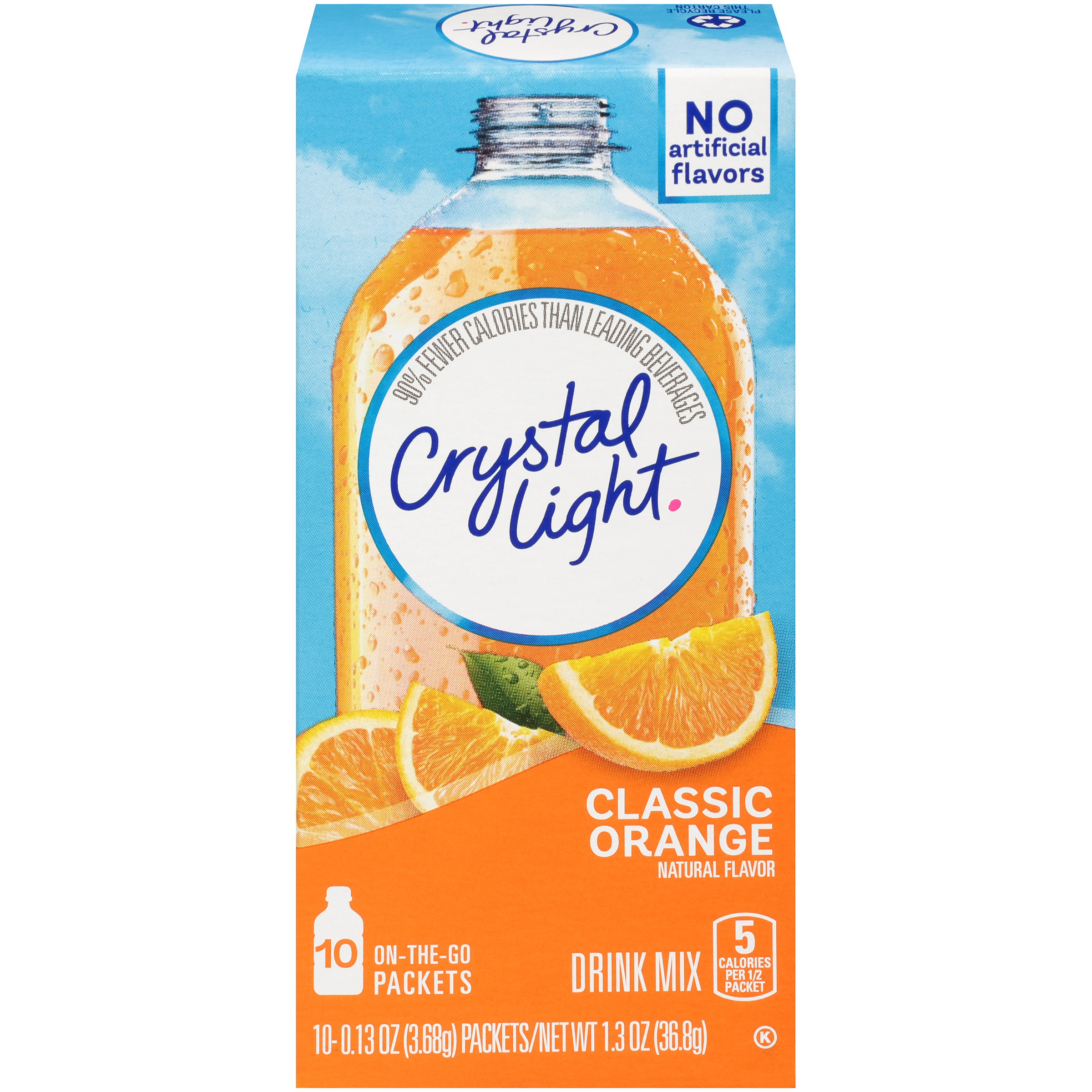 Crystal Light On-The-Go Classic Orange With Vitamin C & Calcium Drink Mix Packets, 10 Packets
