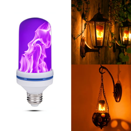 NK HOME Purple Flame Bulb, LED Flame Effect Light Bulb, E26 Standard Base, Atmosphere Decoration Fire Flickering Simulation 108 pcs 2835 LED Beads -Flame Bulb for Home Decoration (1 Pack) - Purple Light Bulbs