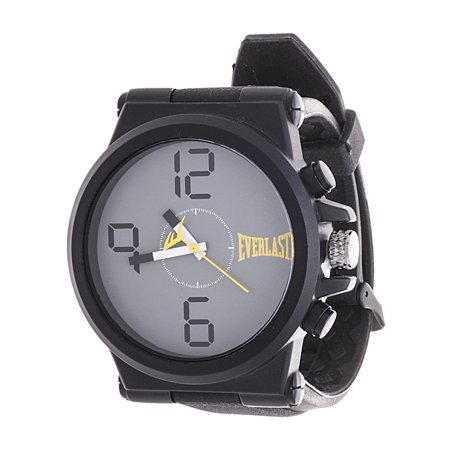 Jumbo Black Round Sport Analog Rubber Watch W/ Silver Ring - Yellow