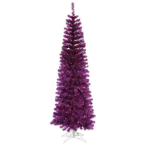 Vickerman 7.5' Purple Artificial Pencil Christmas Tree with 400 Purple Mini Lights
