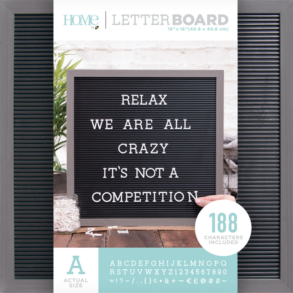"DCWV Framed Letterboard 16""X16"" Gray Stained W/Black Insert"