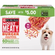 Purina Moist & Meaty Dry Dog Food, Burger with Cheddar Cheese Flavor - 60 ct. Pouch, 360.0 OZ