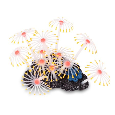 MINI-FACTORY Fish Tank Decoration, Artificial Coral Plant on Rock Aquarium Ornament [Glow under Actinic