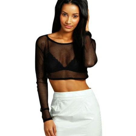 41d987fb357 Womens Mesh Sheer Crop Top Long Sleeve See Through Fishnet Fit Tee Shirt  Blouse Sexy Party Clubwear - Walmart.com