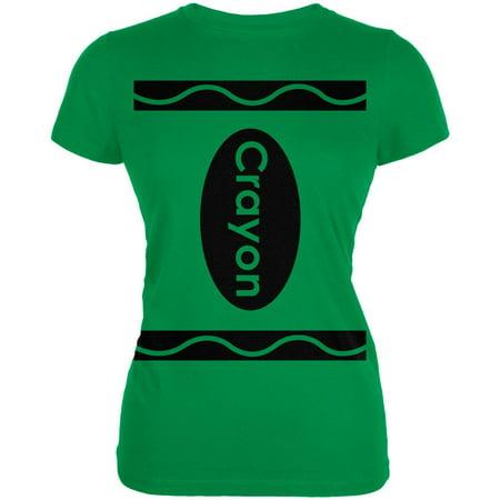 - Crayon Costume Kelly Green Juniors Soft T-Shirt