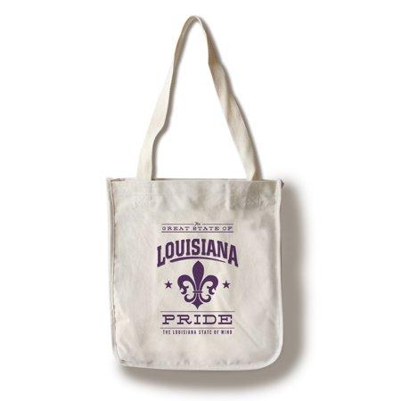 Louisiana State Pride - Purple on White w/ Fleur De Lis - Lantern Press Artwork (100% Cotton Tote Bag - Reusable)