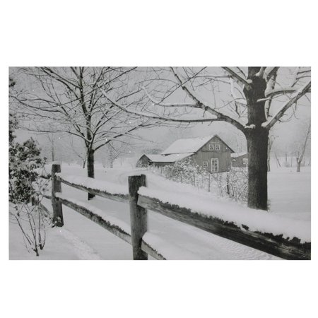 Cabin Wall Art - Large Fiber Optic Snowy Cabin Canvas Wall Art
