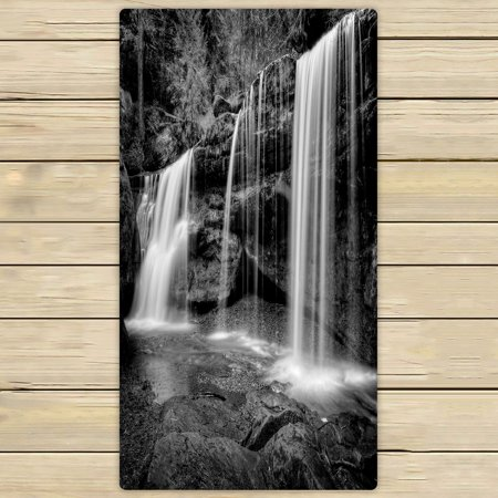 PHFZK Natural Landscape Towel, A Hidden Waterfall in Hocking Hills Ohio in Black and White Hand Towel Bath Bathroom Shower Towels Beach Towel 30x56 inches