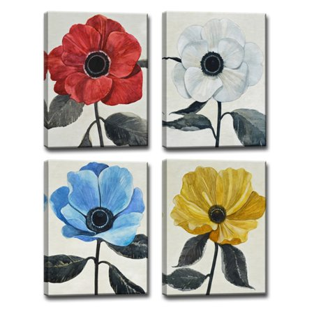 Ready2HangArt Graceful Poppy I-IV Wrapped Canvas Wall Art