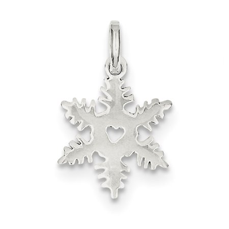 Sterling Silver Solid Polished Snowflake Charm - 1.0 - Polished Snowflake Charm