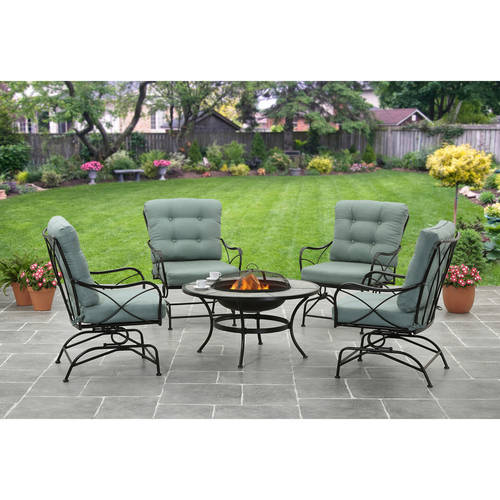 Better Homes and Gardens Seacliff 5pc Fire Pit Set, Teal