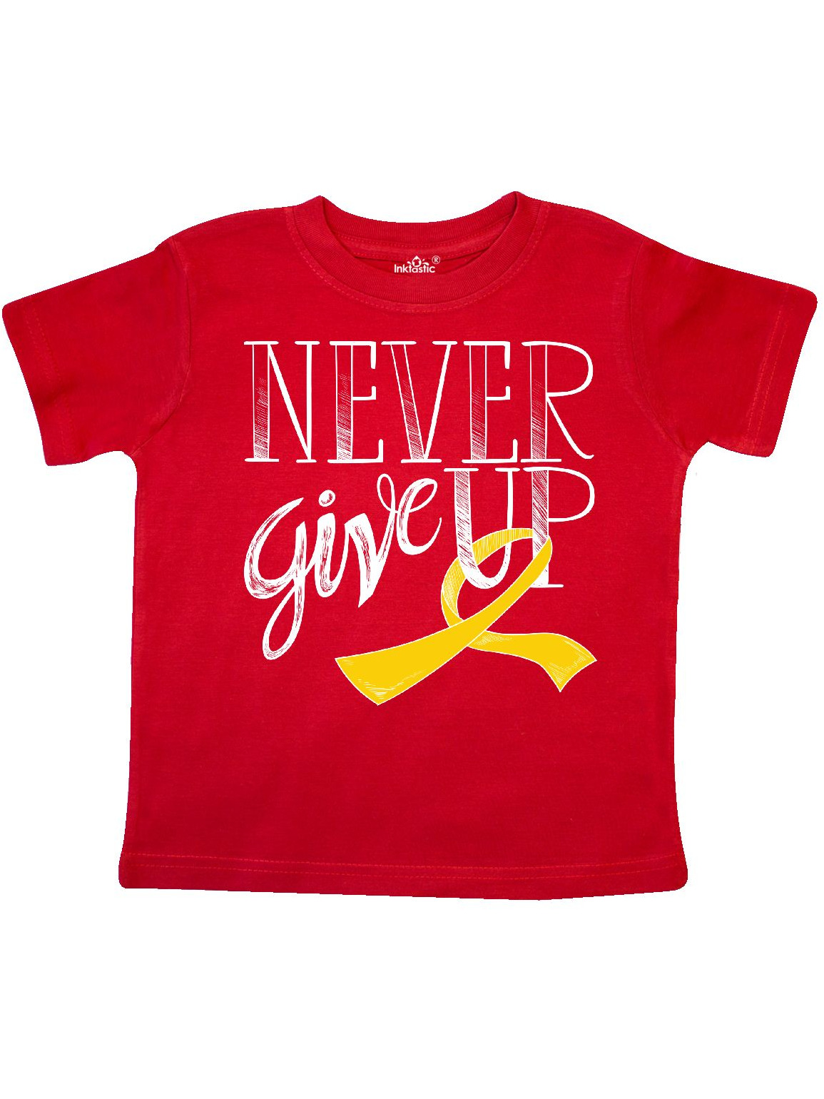 Never Give Up- Childhood Cancer Survivor with Gold Ribbon Toddler T-Shirt