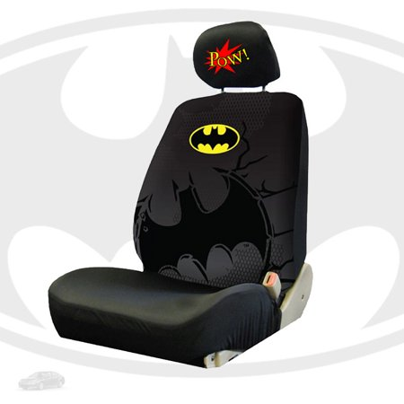 New Batman Car Front Seat Covers And Classic Comic Book POW Headrest Set