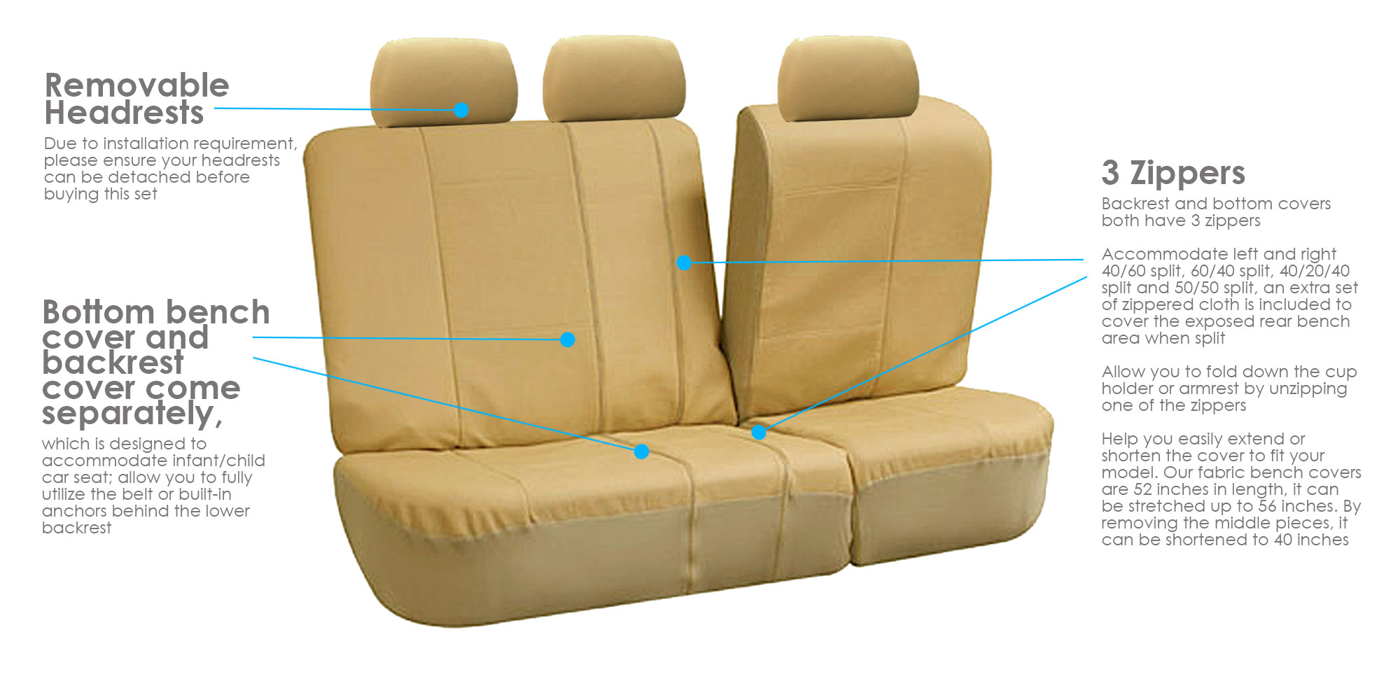Pleasing Fh Group Beige Deluxe Faux Leather Airbag Compatible And Split Bench Car Seat Covers Full Set Andrewgaddart Wooden Chair Designs For Living Room Andrewgaddartcom